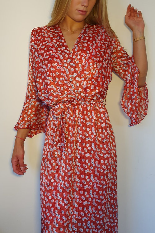 Robe Longue Imprimé Floral  Manches Volant Rouge Holly & Joey