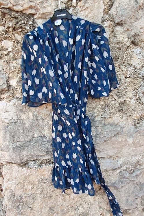 Robe Courte  Cache Coeur Petite  Manche Imprimé D'automne Bleu Canard Jane Wood