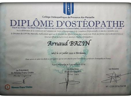 Arnaud Bazin, mon parcours d'ostéopathe