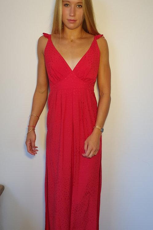 Robe Longue Dos Nu Fines Bretelles Imprimé Uni Rouge Jane Wood