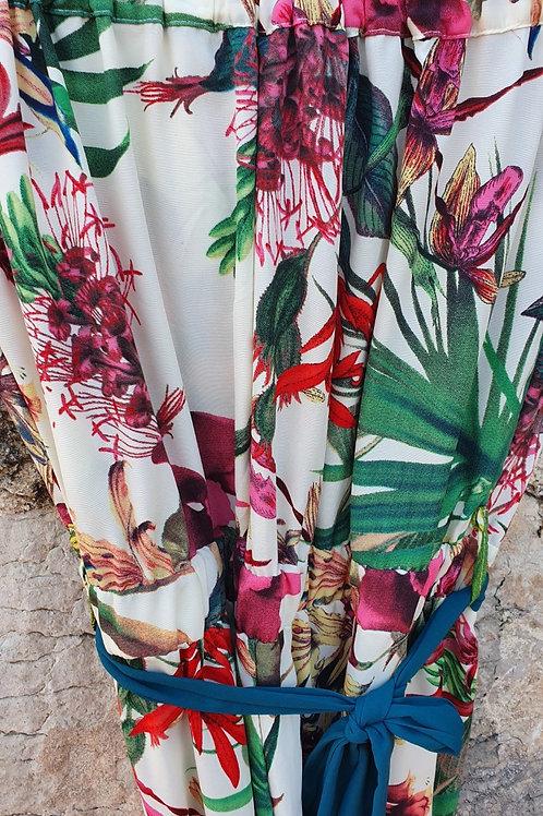 Combinaison Bustier Imprimé Floral Ivoire Vert Scarlet Roos