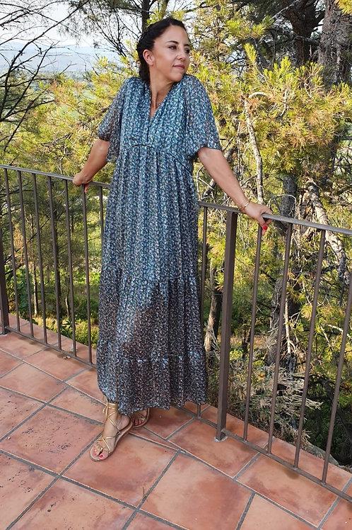 Robe Longue Imprimé Liberty Vert Manche Courte Holly & Joey