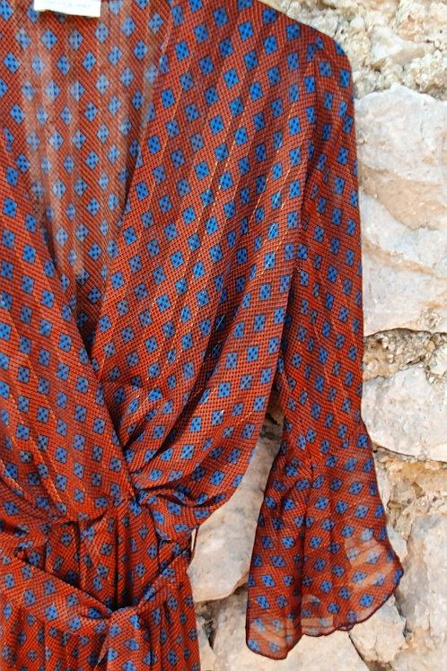 Robe Longue  Imprimé Brique Bleu Manche Volant Holly & Joey