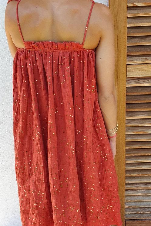Robe Mi-Longue Brique Imprimé Paillette Or Kilibbi