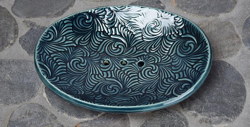 Stormy Blue Swirls Soap Dish