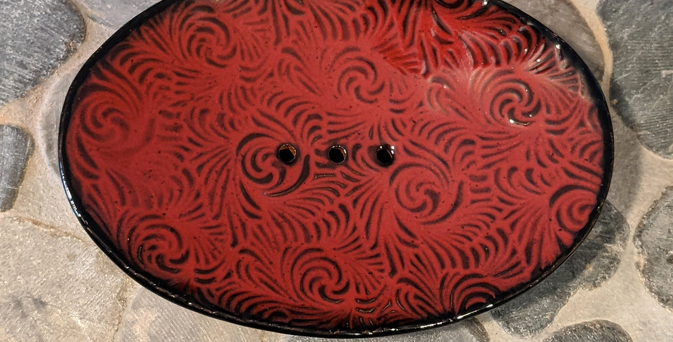 Crimson Swirls Soap Dish
