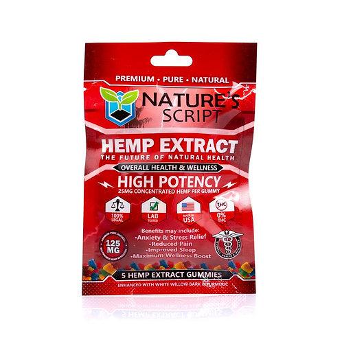 Nature's Script 125 mg 5ct CBD High Potency Gummies