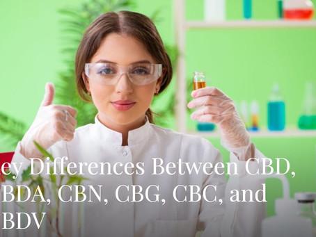 Key Differences Between CBD, CBDA, CBN, CBG, CBC, and CBDV