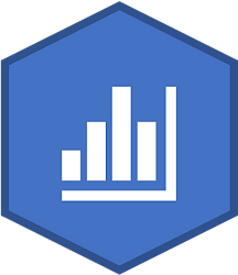 A light blue hexagon with a dark blue border and a white bar chart icon in the center.