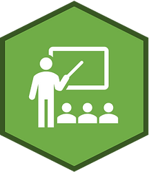 A light green hexagon with a dark green border and a white icon of someone teaching a class in the center.