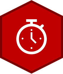 A red hexagon with a dark red border and a white analog clock icon in the center.