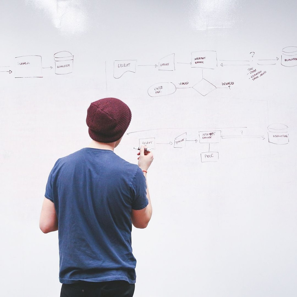 A startup founder writing on a whiteboard their company's business model and determining the most effective and efficient way to charge customers.
