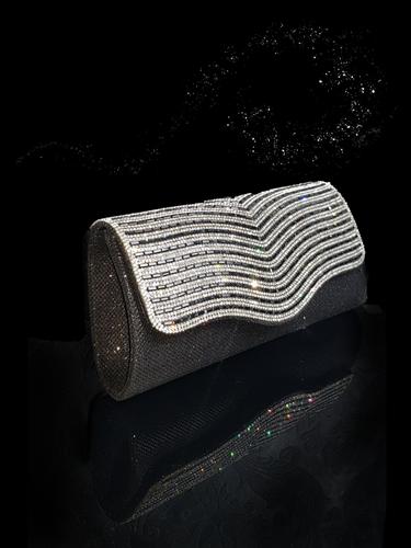5b0943652d Dazzling Diamantè Black Clutch Bag