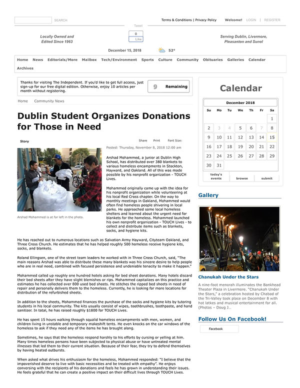 Dublin Student Organizes Donations for T