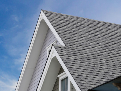 Roof with grey shingles