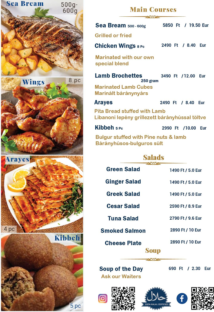 Main courses: chicken wings , lamb , salads, kibbeh
