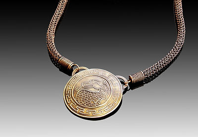 Bronze metal clay with a bronze viking knit chain
