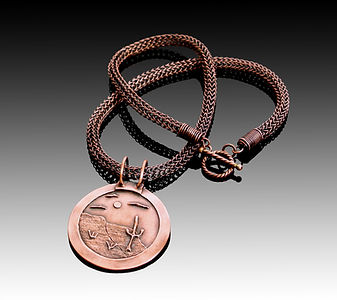 Copper metal clay with copper viking knit chain