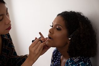 hair and makeup session at a boudoir session