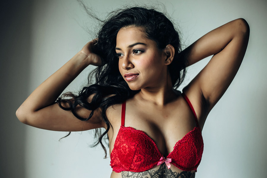 bright red lingerie on indian lady
