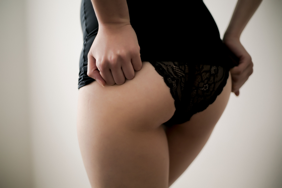 unrevealing her lacey panties