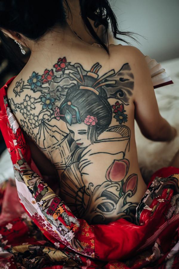 tattoo back of japanese woman