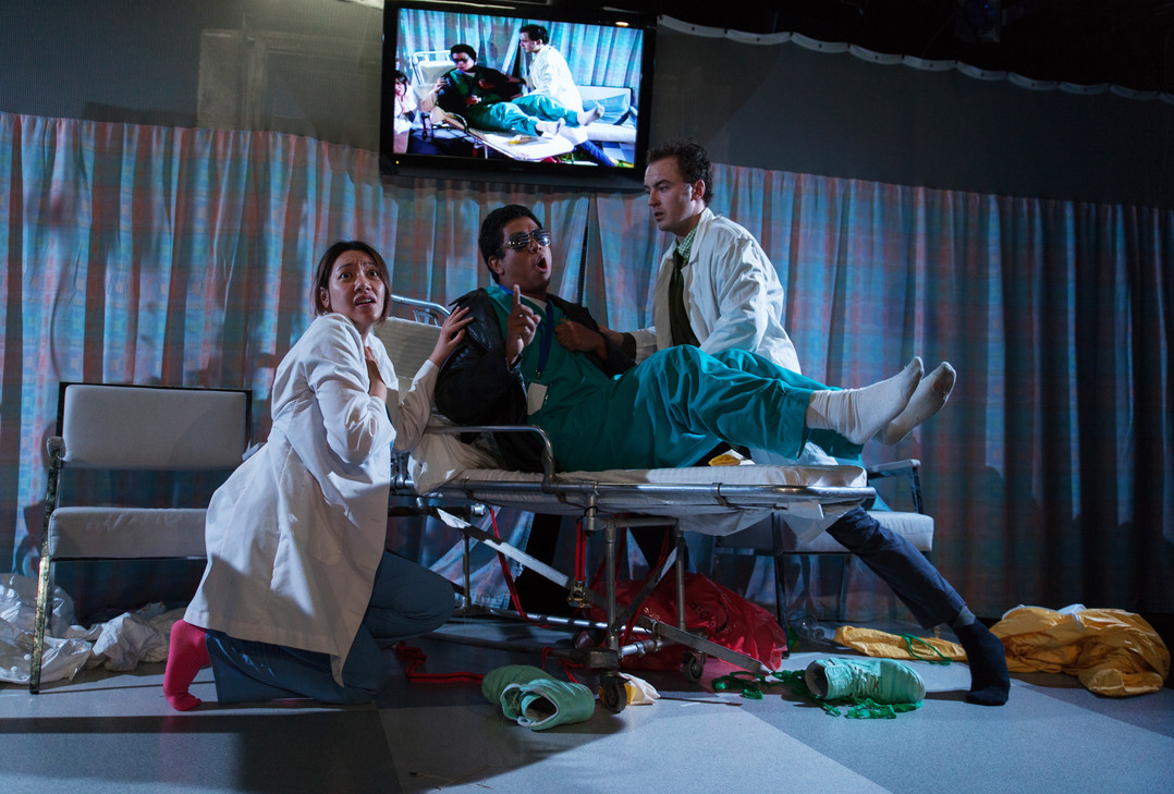 How We Died of Disease Related Illness, By Miranda Rose Hall, Yale Cabaret, Dir. Elizabeth Dinkova, Lights by Elizabeth Mak, Costumes by Sarah Nietfeld, Sound and original Music by Fred Kennedy, Projections by Brittany Bland, Photo Credit Chris Thompson