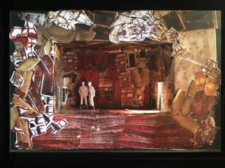 "Hedda Gabbler, Rough Model, Paper Project, rough model 1/8"" scale, Yale University Theatre"