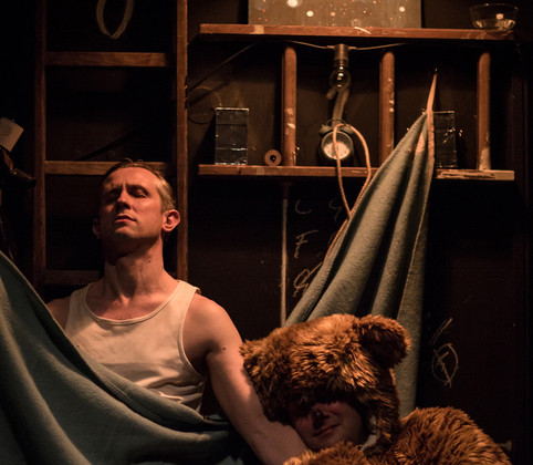 Lovesong Of The Electric Bear, By Snoo Wilson, The Hope Theatre, London, Directed by Matthew Parker, Lights by Tom Kitney, Costumes by Claire Amos, Sound by Paul Freeman, Photo Credit Scott Rylander. Nominated and Shortlisted for Best Set Design Off West End Awards 2015