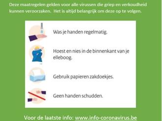Voorzorgsmaatregelen omtrent Coronavirus