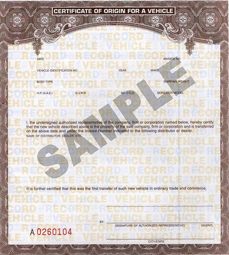 MCO Manufacturer Certificate of Origin (TITLE)