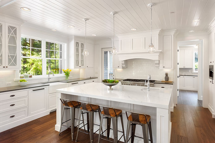 White Kitchen Interior with Island, Sink