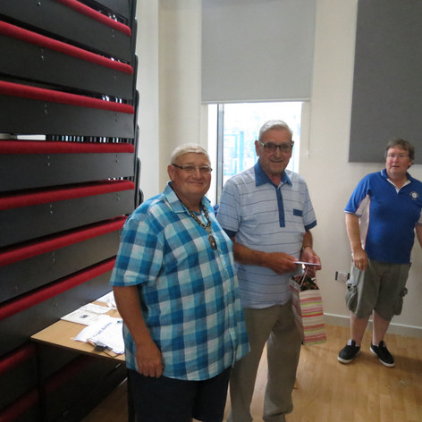 Brian Williamson presented with a gift from all the YBS affiliated societies for his long standing help behind the scences in the show office.