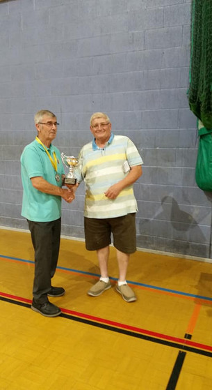 Ian Heptinstall and Castleford BS president Roy Johnson