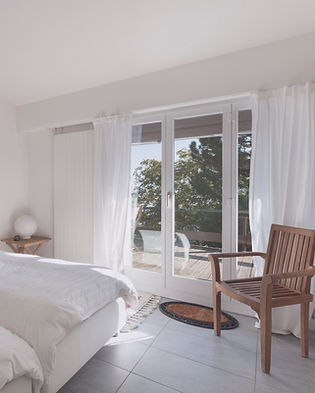 White Bedroom with french doors