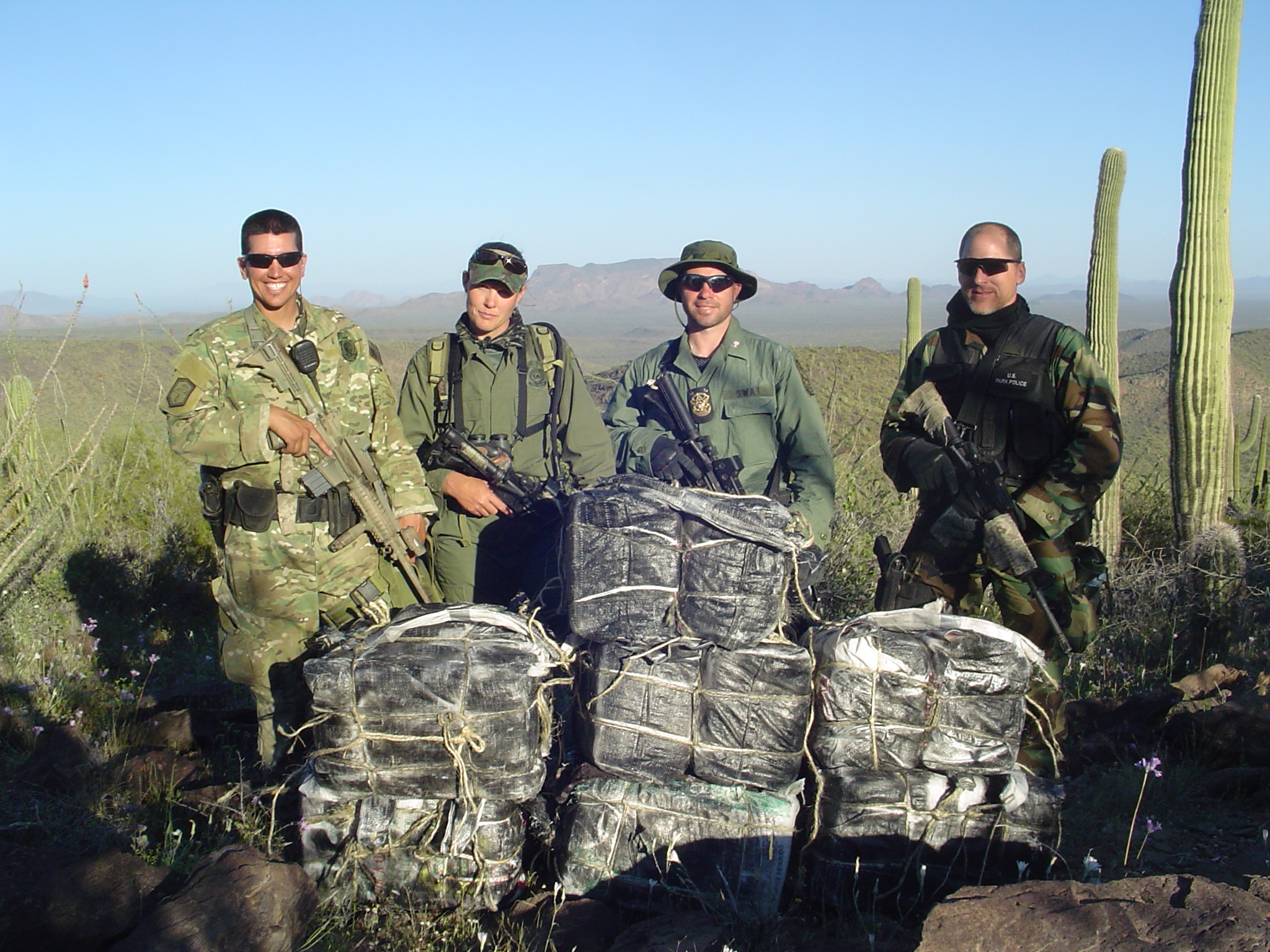 National Park Rangers defeating drug smugglers