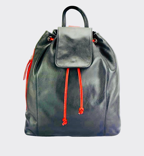 The Milan leather Backpack: Black and red