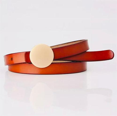 The Golden buckle leather belt: camel