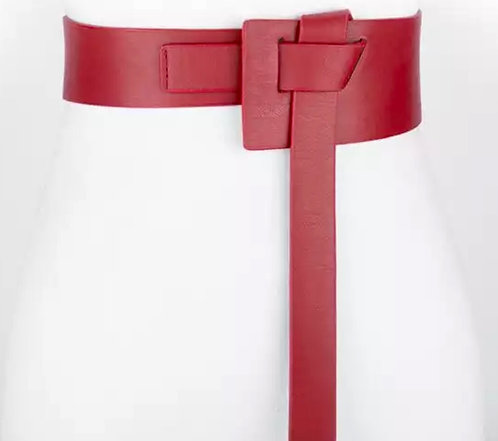 Corset leather knot belt red