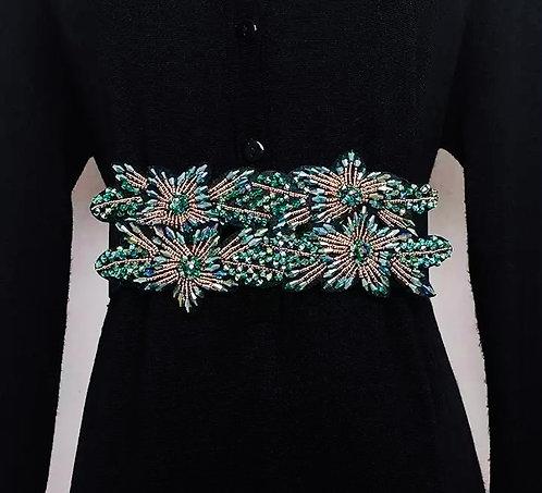Evening Crystal beaded gems belt : green