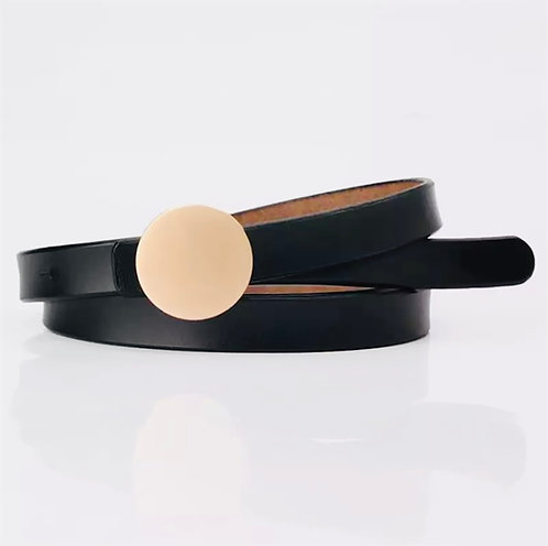 The golden buckle leather belt: Black
