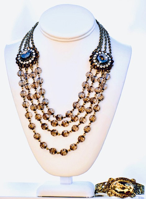 Amber and Crystal necklace set