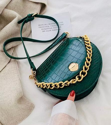 The Croco Saddle Bag: Green