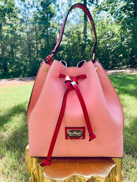 The Pastel Tulip satchel: Pink and Red