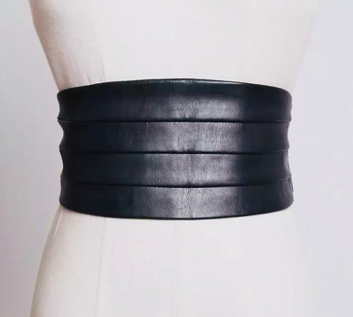 Wide Corset Belt in black