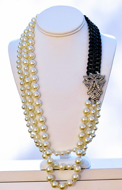 Crystal and pearls, long necklace