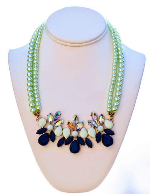 Lime green and blue Chrystal necklace