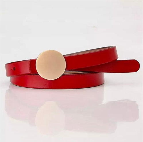 The Golden buckle leather belt: red