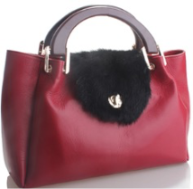 The Classy leather Fur Hobo - Red
