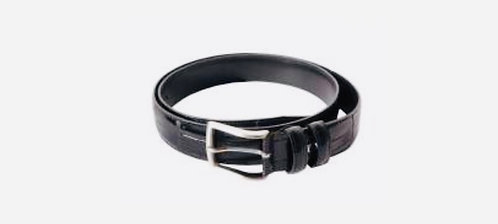 Shiny Men's leather belt: Black